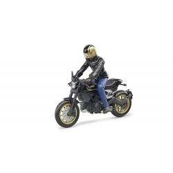 Moto Scrambler Ducati Cafe Racer avec Motard Accessoires miniatures