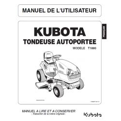 Manuel d'utilisateur tondeuse autoportée Kubota T1880 Manuels espaces verts