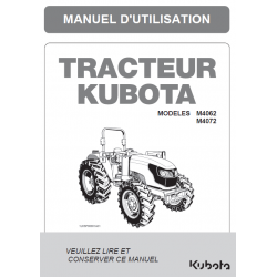 MANUEL D'UTILISATEUR KUBOTA M4062, M4072 DTH Manuels pour tracteurs