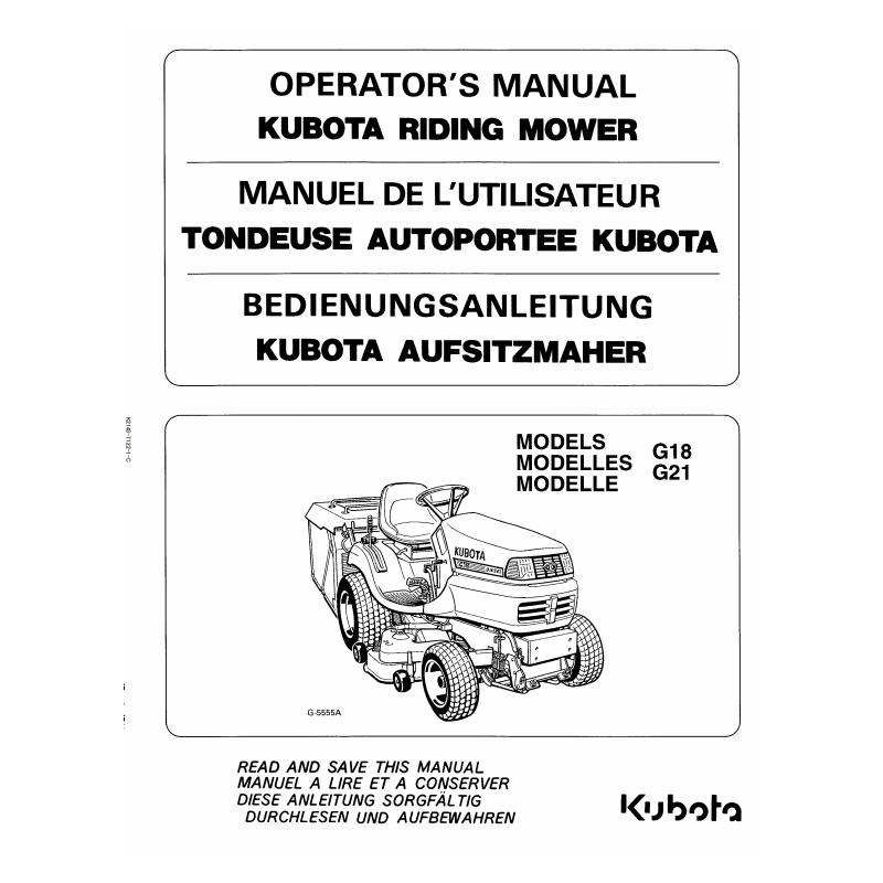 Manuel d'utilisateur tondeuses Kubota G18 - G21 Manuels espaces verts