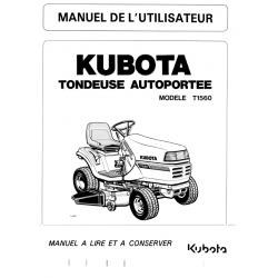 Manuel d'utilisateur tondeuse autoportée Kubota T1560 Manuels espaces verts
