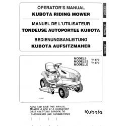 MANUEL D'UTILISATEUR TONDEUSE AUTOPORTÉE KUBOTA T1670 - T1870 Manuels espaces verts