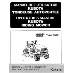 MANUEL D'UTILISATEUR TONDEUSE AUTOPORTÉE KUBOTA T1400-T1400H Manuels espaces verts