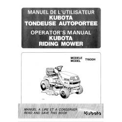 MANUEL D'UTILISATEUR TONDEUSE AUTOPORTÉE KUBOTA T1600H Manuels espaces verts