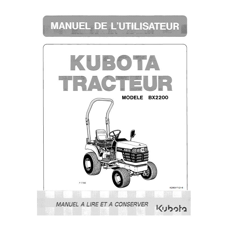 Manuel d'utilisateur tracteurs Kubota BX2200 Manuels espaces verts