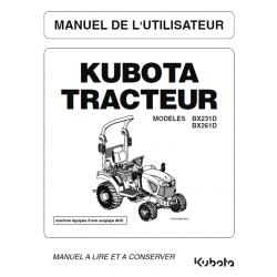 Manuel d'utilisateur tracteur Kubota BX231D, BX261D Manuels espaces verts