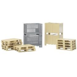 Ensemble logistique (palettes et caisses) Accessoires miniatures