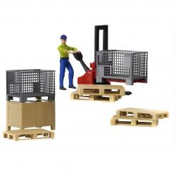 Set de Logistique Bworld avec figurine Accessoires miniatures