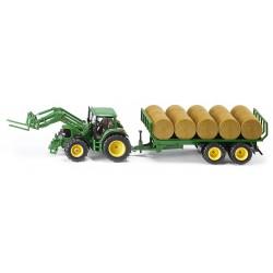 Tracteur John Deere avec plateau à balles rondes Tracteurs miniatures