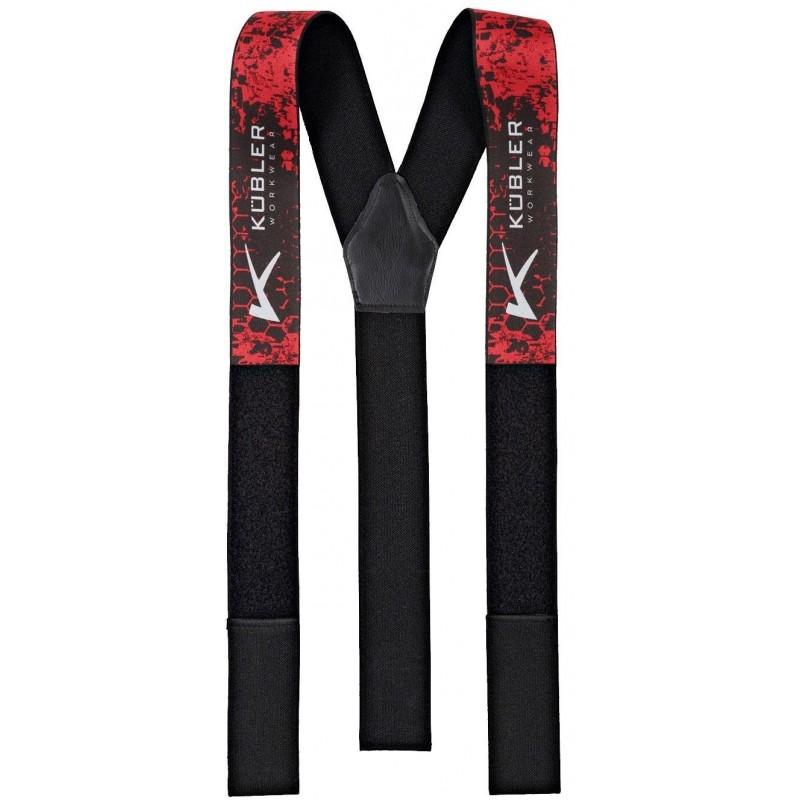 Bretelles Kübler (scratch velcro) rouge/noir Pantalons