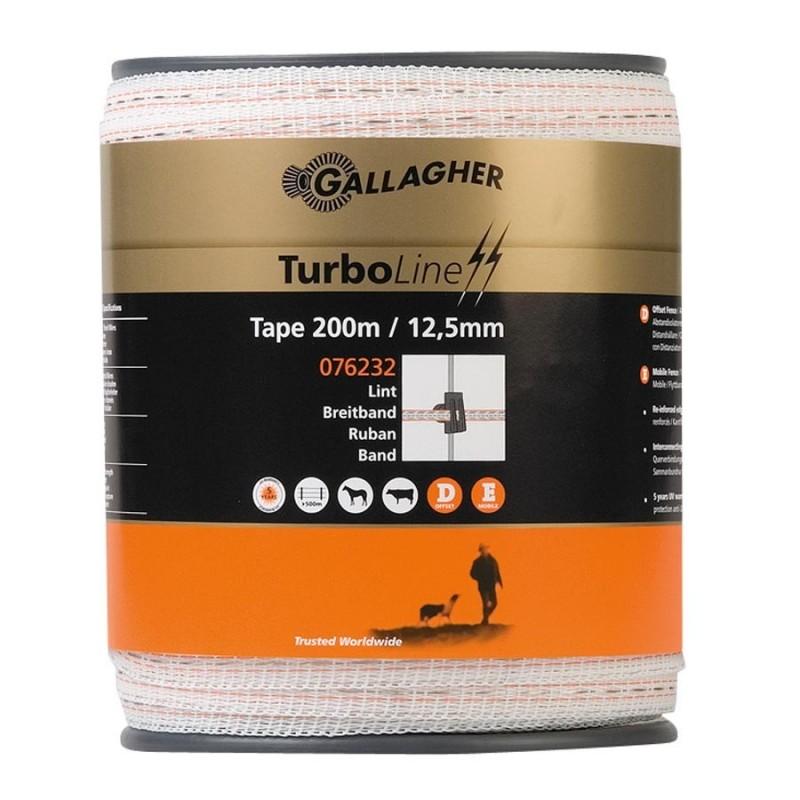 Ruban TurboLine 12,5mm (blanc, 200 mètre) Rubans clôtures électriques