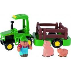 """Coffret John Deere """"Je transporte mes animaux"""" Tracteurs miniatures"""