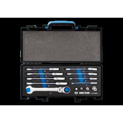 Coffret clés mixtes à cliquet à tête articulée métriques avec adaptateurs 13 pièces King Tony Clés