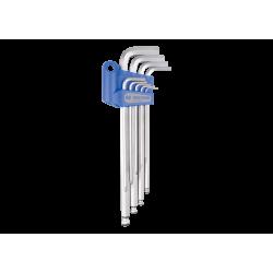 9 clés mâles 6 pans extra longues à tête sphérique métrique King Tony Tournevis, clés mâles et embouts