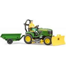 Jardinier avec tondeuse autoportée John Deere et accessoires Bruder Tracteurs miniatures