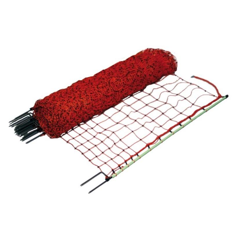 Filet volaille 50m, double pointe, 112cm (orange) Filets clôtures électriques