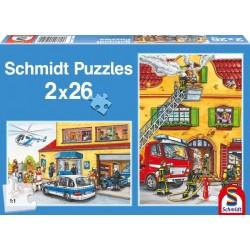 Puzzle pompiers et police 2 x 26 pièces Puzzles & jeux de société