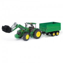 Tracteur John Deere 7930 avec remorque et fourche Bruder Tracteurs miniatures