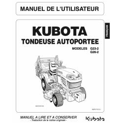 Manuel d'utilisateur Kubota G23-2 / G26-2 Manuels espaces verts