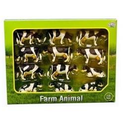 Coffret 12 vaches noires et blanches Figurines